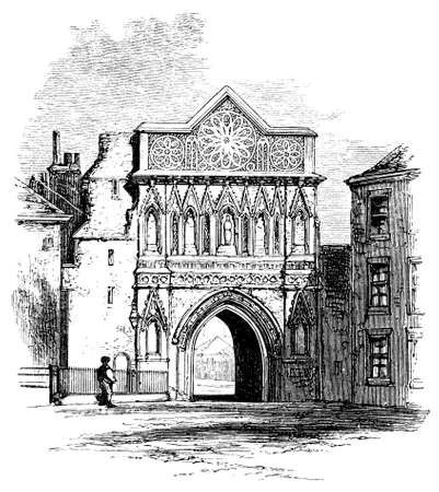 victorian gates: 19th century engraving of Ethelbert Gate, Norwich, UK