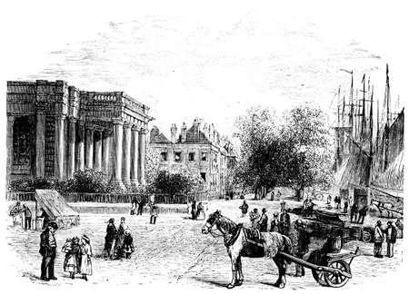 quay: 19th century engraving of Great Yarmouth quay, UK