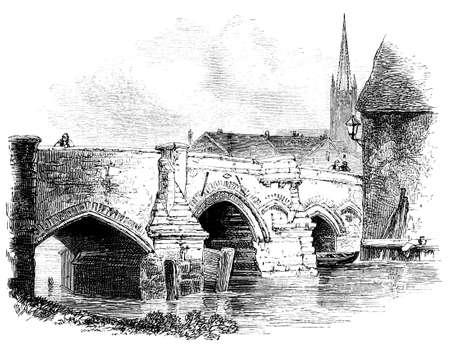 19th century engraving of Bishops Bridge, Norwich, UK
