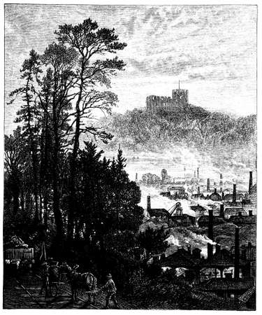 monument valley: 19th century engraving of Dudley Castle, West Midlands, UK