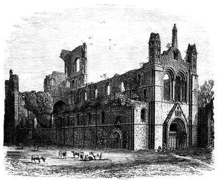 abbey: 19th century engraving of Kirkstall Abbey, West Yorkshire, UK