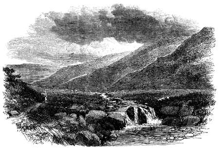 moor: 19th century engraving of a Yorkshire moor, UK
