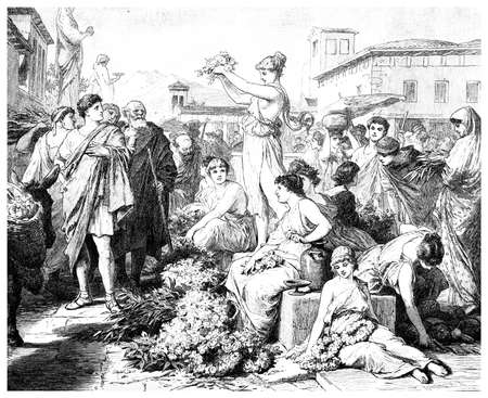 Victorian engraving of flower sellers in ancient Athens, Greece. Digitally restored image from a mid-19th century Encyclopaedia.