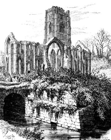 abbey: 19th century engraving of Fountains Abbey, North Yorkshire, UK