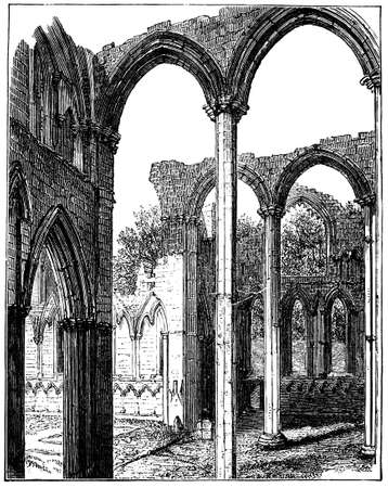 fountains: 19th century engraving of Fountains Abbey, North Yorkshire, UK