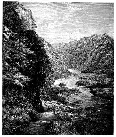 yorkshire: 19th century engraving of a Yorkshire dale, UK