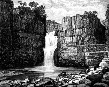 yorkshire: 19th century engraving of a Yorkshire pool, UK