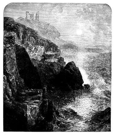 19th century engraving of Dunstanborough Castle, Northumberland, UK Stock fotó