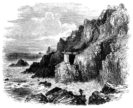 cornwall: 19th century engraving of an old Cornwall tin mine, UK Stock Photo
