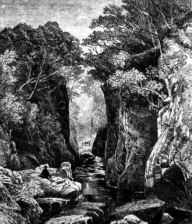 19th century engraving of a river ravine 版權商用圖片