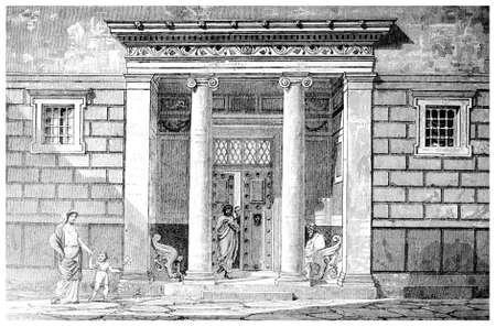Victoriaanse graveren van een ingang naar een klassiek Grieks huis. Digitaal hersteld beeld van een midden van de 19e eeuw Encyclopedie. Stockfoto