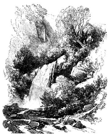 welsh: 19th century engraving of a Welsh countryside, UK Stock Photo