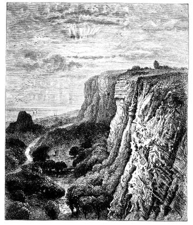 isle: 19th century engraving of the Isle of Wight, UK