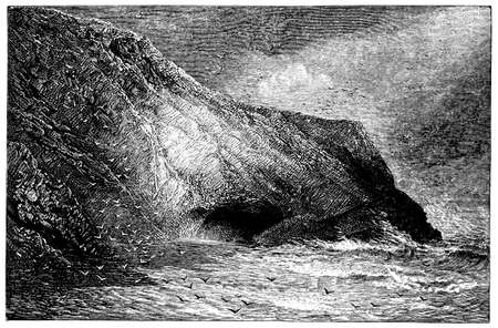 19th: 19th century engraving of a coastal landscape, UK