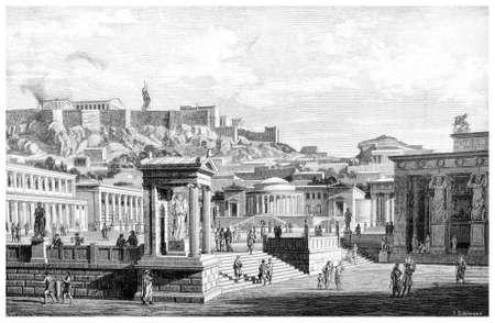 Victoriaanse gravure van een oude mening van de Agora in Athene. Digitaal hersteld beeld van een midden van de 19e eeuw Encyclopedie. Stockfoto