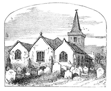 19th century engraving of an old churchyard, UK