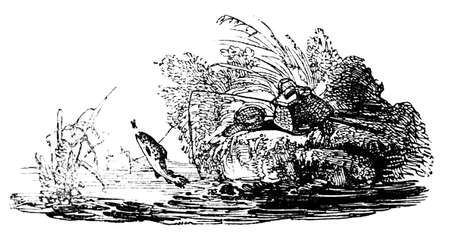 fishing scene: 19th century engraving of a fly fishing scene Stock Photo