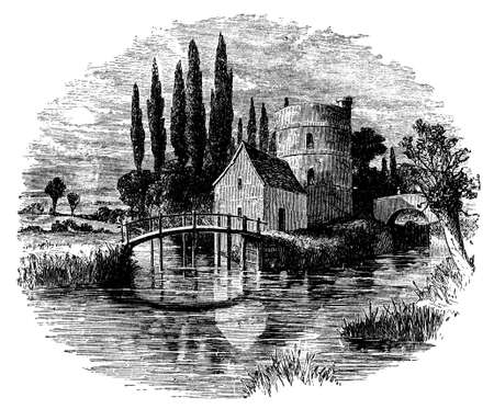 19th century engraving of River Thames near Lechlade, UK Reklamní fotografie