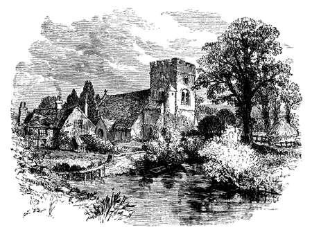 古い教会の墓地は、英国の 19 世紀の彫刻