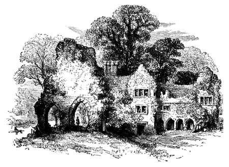abbey: 19th century engraving of Medmenham abbey, Buckinghamshire, UK Stock Photo