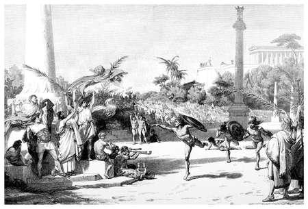 ancient greece: Grabado victoriana de una representaci�n de los antiguos Juegos Ol�mpicos. Imagen digitalmente restaurada de una enciclopedia mediados del siglo 19. Foto de archivo