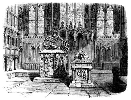 19th century engraving of a church interior, UK Reklamní fotografie