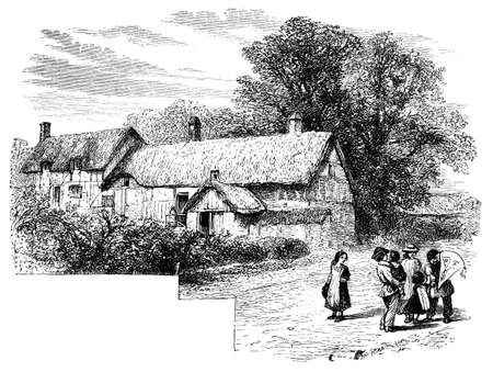 19th century engraving of Anne Hathaway\'s Cottage, Warwickshire, UK