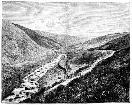 moor: 19th century engraving of the Dartmoor landscape, UK