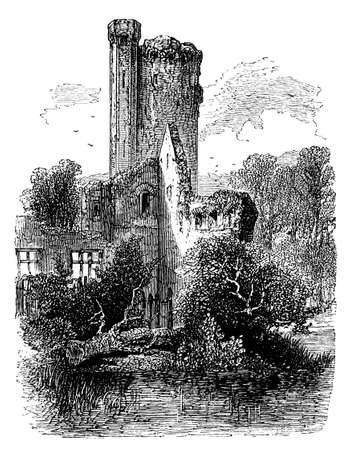 19th century engraving of Caistor Castle, Norfolk, UK Stok Fotoğraf