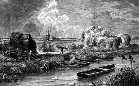 19th century engraving of the Fenland landscape, UK