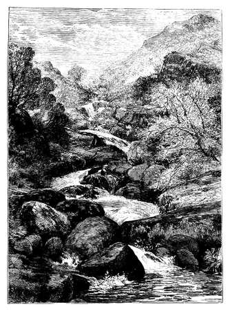 creek: 19th century engraving of a Welsh landscape, UK Stock Photo