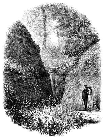 stroll: 19th century engraving of a romantic country stroll, UK Stock Photo