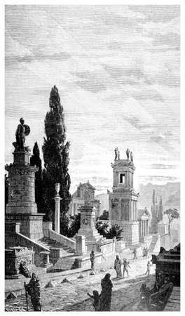 빅토리아 조각 무덤, 아테네의 거리. 19 세기 중반 백과 사전에서 디지털 복원 된 이미지. 스톡 콘텐츠
