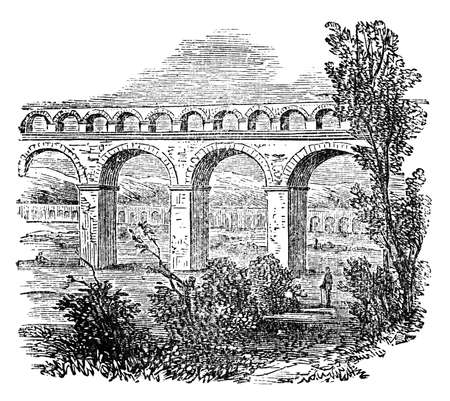Victorian engraving of an ancient Roman aqueduct. Digitally restored image from a mid-19th century Encyclopaedia. Banco de Imagens