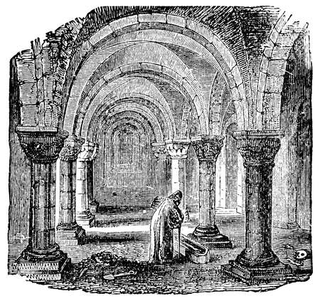 cathedrals: Victorian engraving of a church crypt. Digitally restored image from a mid-19th century Encyclopaedia.