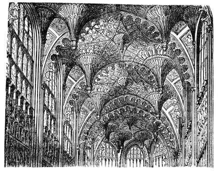 Victorian engraving of the vaulted ceiling of the Chapel of Henry VII, Westminster. Digitally restored image from a mid-19th century Encyclopaedia. Stock Photo