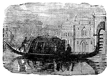 restored: Victorian engraving of a gondola, Venice, Italy. Digitally restored image from a mid-19th century Encyclopaedia.