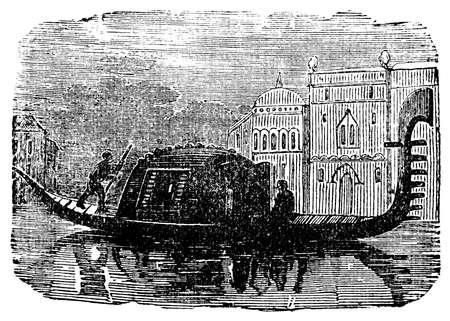 venice italy: Victorian engraving of a gondola, Venice, Italy. Digitally restored image from a mid-19th century Encyclopaedia.