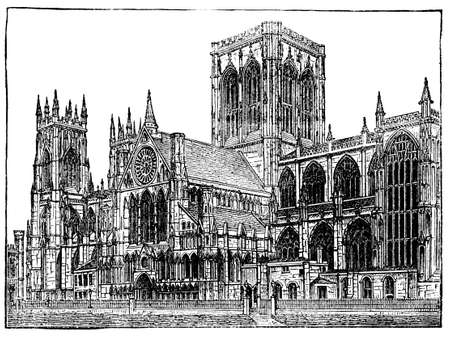 cathedrals: Victorian engraving of Yorkminster Cathedral, York. Digitally restored image from a mid-19th century Encyclopaedia.