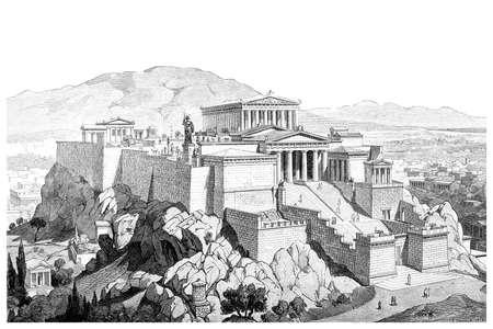 Victoriaanse gravure van de Akropolis in Athene. Digitaal hersteld beeld van een midden van de 19e eeuw Encyclopedie.