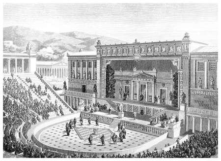 Victorian graveren van het Theater van Dionysos in Athene. Digitaal hersteld beeld van een midden van de 19e eeuw Encyclopedie. Stockfoto