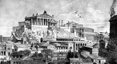 reconstruction: Victorian engraving of a  reconstruction of the ancient city of Rome . Digitally restored image from a mid-19th century Encyclopaedia.