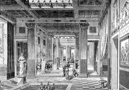 Victorian engraving of an interior of an ancient Roman villa. Digitally restored image from a mid-19th century Encyclopaedia.