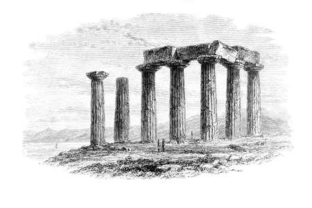 restored: Victorian engraving of a ruined ancient Greek temple. Digitally restored image from a mid-19th century Encyclopaedia.