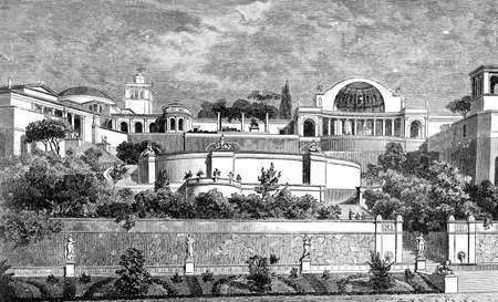 abbey: Victorian engraving of Hadrians Palace