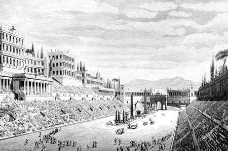 Victorian engraving of the Circus Maximus, Rome. Digitally restored image from a mid-19th century Encyclopaedia. Banco de Imagens
