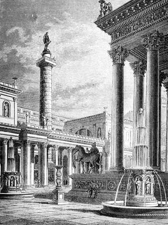restored: Victorian engraving of the Roman Forum. Digitally restored image from a mid-19th century Encyclopaedia. Stock Photo