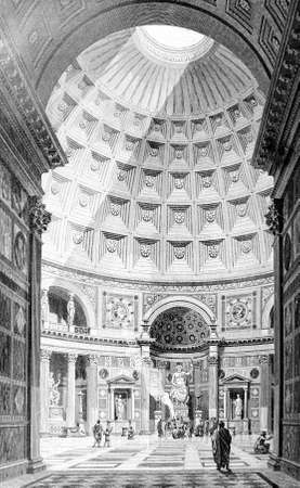 Victorian engraving of the interior of the Pantheon, Rome. Digitally restored image from a mid-19th century Encyclopaedia.