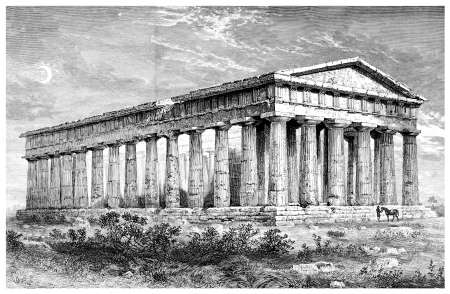 Victorian engraving of the ruins of an ancient Greek temple. Digitally restored image from a mid-19th century Encyclopaedia.