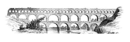 19e-eeuwse gravure van de Pont du Gard, Frankrijk